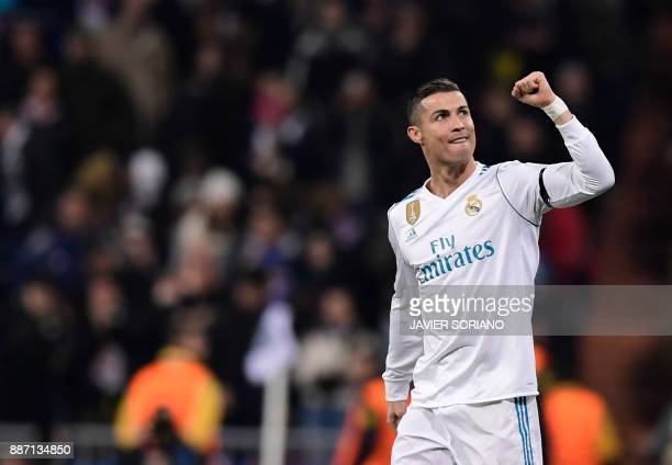 Real Madrid's Portuguese forward Cristiano Ronaldo celebrates a goal during the UEFA Champions League group H football match Real Madrid CF vs...