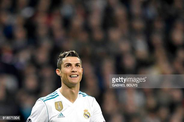 Real Madrid's Portuguese forward Cristiano Ronaldo celebrates a goal during the UEFA Champions League round of sixteen first leg football match Real...