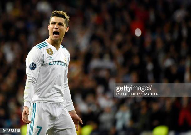 Real Madrid's Portuguese forward Cristiano Ronaldo celebrates a goal during the UEFA Champions League quarterfinal second leg football match between...