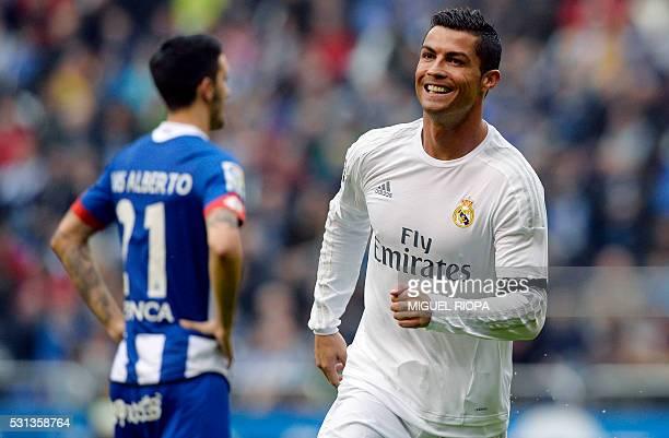 Real Madrid's Portuguese forward Cristiano Ronaldo celebrates after scoring a goal during the Spanish league football match RC Deportivo de la Coruna...