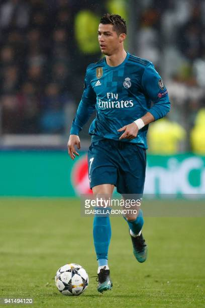 Real Madrid's Portuguese forward Cristiano Ronaldo controls the ball during the UEFA Champions League quarterfinal first leg football match between...