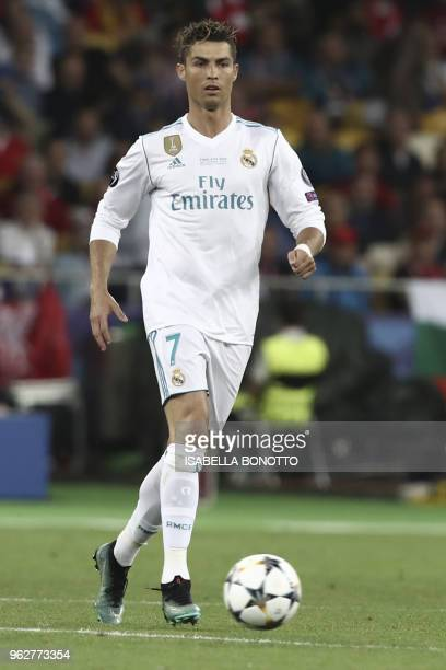 Real Madrid's Portuguese forward Cristiano Ronaldo controls the ball during the UEFA Champions League final football match between Liverpool and Real...