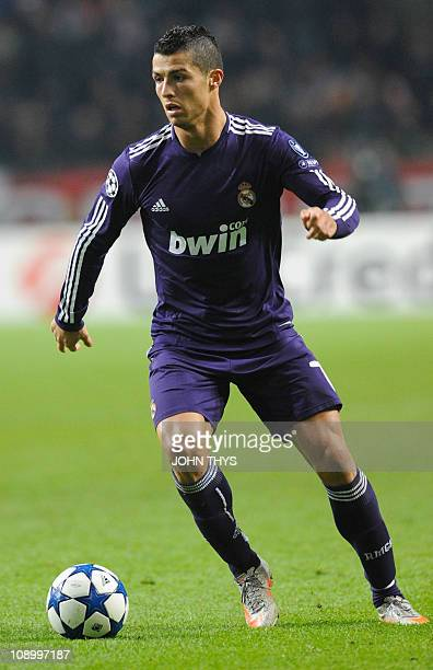 Real Madrid's Portuguese forward Cristiano Ronaldo dribbles during the UEFA Champions League group G football match againt Ajax Amsterdam in...