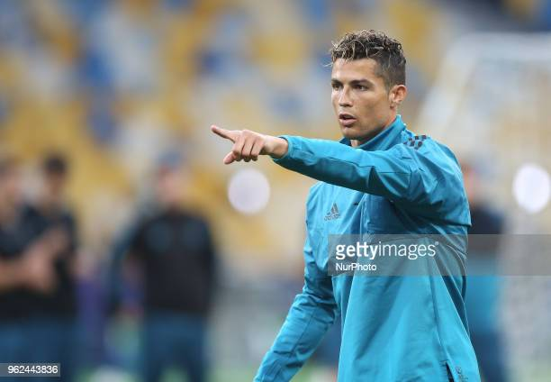 Real Madrid's Portuguese forward Cristiano Ronaldo during a Real Madrid team training session at the Olympic Stadium in Kiev Ukraine on May 25 on the...