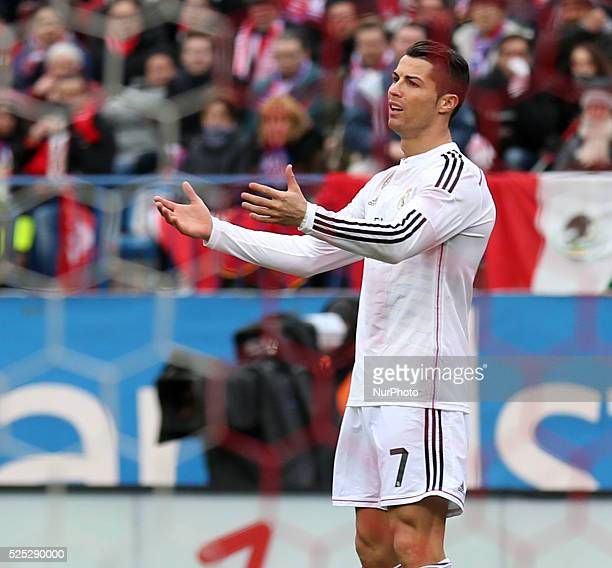 Real Madrid's Portuguese forward Cristiano Ronaldo during the Spanish league football match Club Atletico de Madrid vs Real Madrid CF at the Vicente...