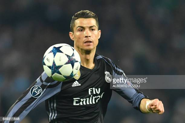 Real Madrid's Portuguese forward Cristiano Ronaldo during the UEFA Champions League football match SSC Napoli vs Real Madrid on March 7 2017 at the...