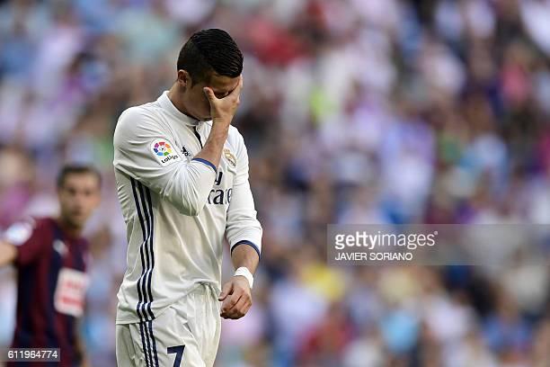 Real Madrid's Portuguese forward Cristiano Ronaldo gestures during the Spanish league football match Real Madrid CF vs SD Eibar at the Santiago...