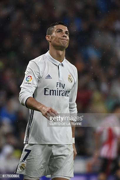 Real Madrid's Portuguese forward Cristiano Ronaldo gestures during the Spanish league football match between Real Madrid CF and Athletic Club Bilbao...