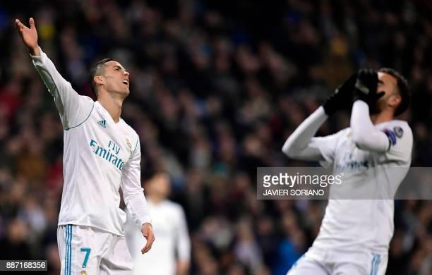 Real Madrid's Portuguese forward Cristiano Ronaldo gestures during the UEFA Champions League group H football match Real Madrid CF vs Borussia...