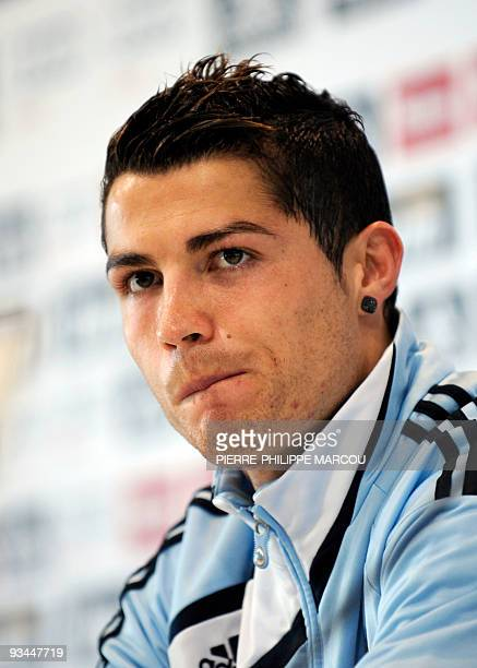 Real Madrid's Portuguese forward Cristiano Ronaldo gives a press conference after a training session in Madrid on November 27 two days before a...