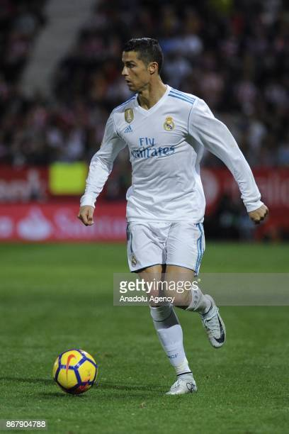 Real Madrid's Portuguese forward Cristiano Ronaldo in action during the Spanish La Liga football match Girona FC vs Real Madrid CF at the Municipal...