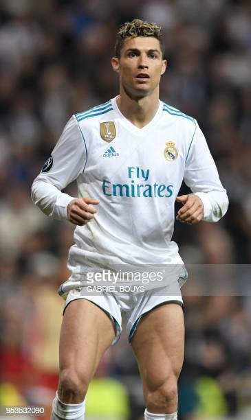 Real Madrid's Portuguese forward Cristiano Ronaldo is pictured during the UEFA Champions League semifinal secondleg football match Real Madrid CF vs...