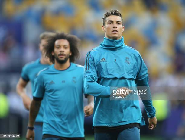 Real Madrid's Portuguese forward Cristiano Ronaldo kicks the ball during a Real Madrid team training session at the Olympic Stadium in Kiev Ukraine...