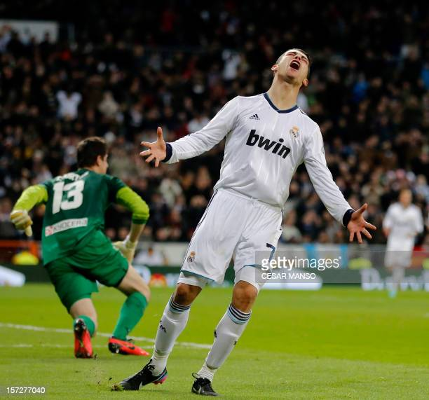 Real Madrid's Portuguese forward Cristiano Ronaldo reacts during the Spanish league football match Real Madrid CF vs Atletico Madrid at the Santiago...