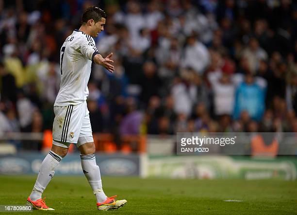 Real Madrid's Portuguese forward Cristiano Ronaldo reacts during the UEFA Champions League semifinal second leg football match Real Madrid CF vs...