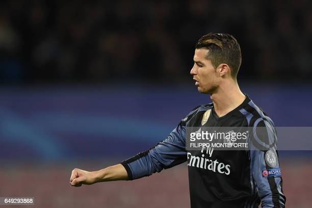 Real Madrid's Portuguese forward Cristiano Ronaldo reacts during the UEFA Champions League football match SSC Napoli vs Real Madrid on March 7 2017...