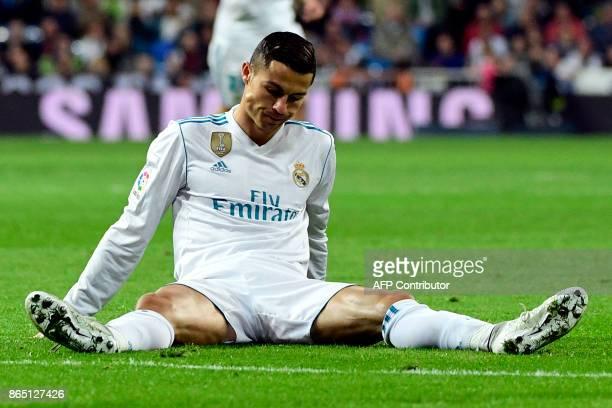 TOPSHOT Real Madrid's Portuguese forward Cristiano Ronaldo reacts during the Spanish league football match Real Madrid CF vs SD Eibar at the Santiago...