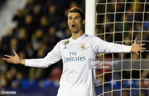 TOPSHOT Real Madrid's Portuguese forward Cristiano Ronaldo reacts during the Spanish league football match between Levante UD and Real Madrid CF at...