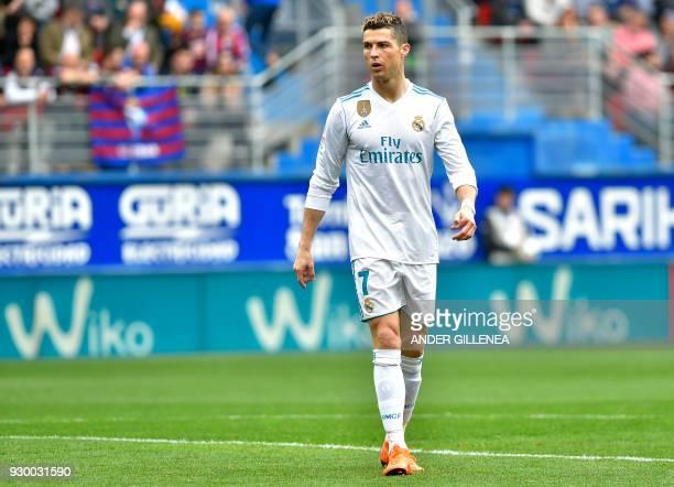 Real Madrid's Portuguese forward Cristiano Ronaldo reacts during the Spanish league football match between Eibar and Real Madrid at the Ipurua...