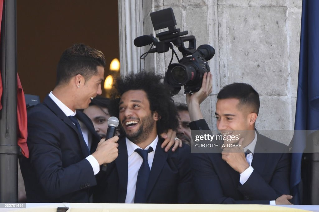 Real madrids portuguese forward cristiano ronaldo real madrids real madrids portuguese forward cristiano ronaldo real madrids brazilian defender marcelo and real madrids midfielder m4hsunfo