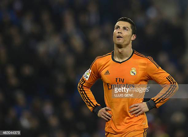 Real Madrid's Portuguese forward Cristiano Ronaldo stands during the Spanish league football match RCD Espanyol vs Real Madrid atthe CornellaEl Prat...