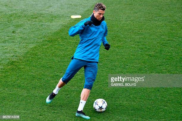 Real Madrid's Portuguese forward Cristiano Ronaldo takes part in a training session at the Valdebebas training ground in Madrid on April 30 2018 on...