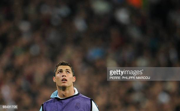 Real Madrid's Portuguese forward Cristiano Ronaldo warms up before playing against Zurich during their UEFA Champions League football at the Santiago...