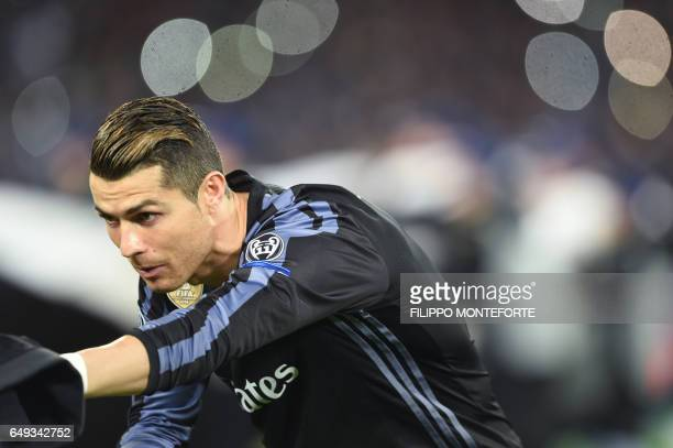 Real Madrid's Portuguese forward Cristiano Ronaldo warms up before the UEFA Champions League football match SSC Napoli vs Real Madrid on March 7 2017...