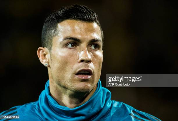Real Madrid's Portuguese forward Ronaldo warms up prior the UEFA Champions League Group H football match BVB Borussia Dortmund v Real Madrid in...