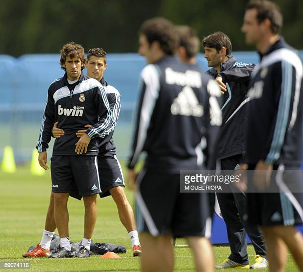 Real Madrid's Portuguese player Cristiano Ronaldo and Raul Gonzalez participate in a training session on July 17 2009 at the Carton House Hotel in...