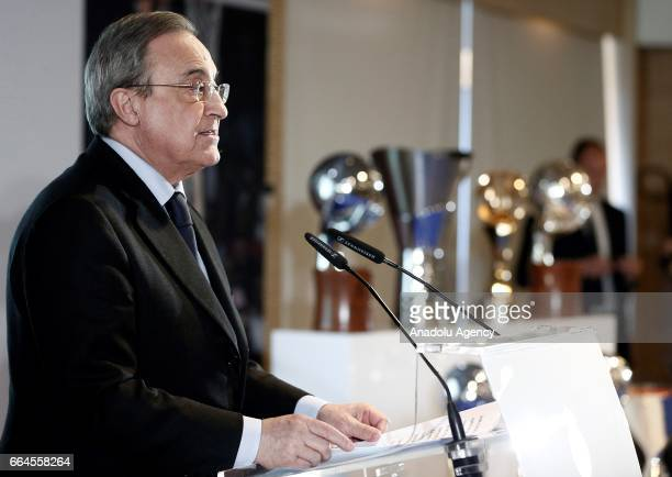 Real Madrid's president Florentino Perez and Real Madrid's Argentinian forward Andres Nocioni attend a press conference organised by the club after...
