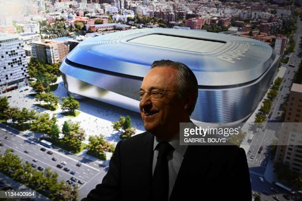 Real Madrid´s President Florentino Perez attends the unveiling of the Santiago Bernabeu stadium redevelopment plans on April 2 2019 in Madrid
