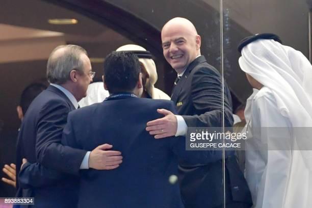 Real Madrid's President Florentino Perez Diego Maradona retired Argentine footballing legend and alFujairah head coach and Fifa President Gianni...