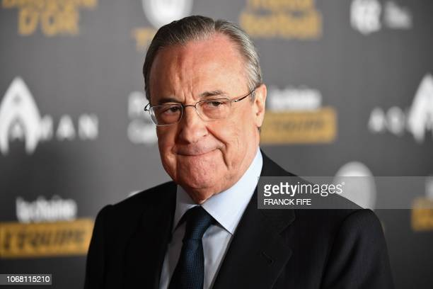 Real Madrid's president Florentino Perez poses upon arrival at the 2018 Ballon d'Or award ceremony at the Grand Palais in Paris on December 3 2018