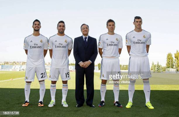 Real Madrid's President Florentino Perez poses with Isco, Daniel Carvajal, Asier Illarramendi and Gareth Bale during the official team photo session...