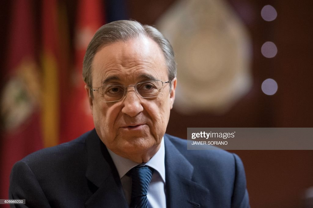 Real Madrid's President Florentino Perez speaks during an ...
