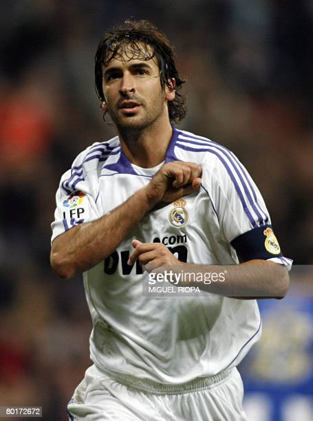 Real Madrid's Raul Gonzalez celebrates after scoring against Espanyol during a Spanish league football match at the Santiago Bernabeu Stadium on...