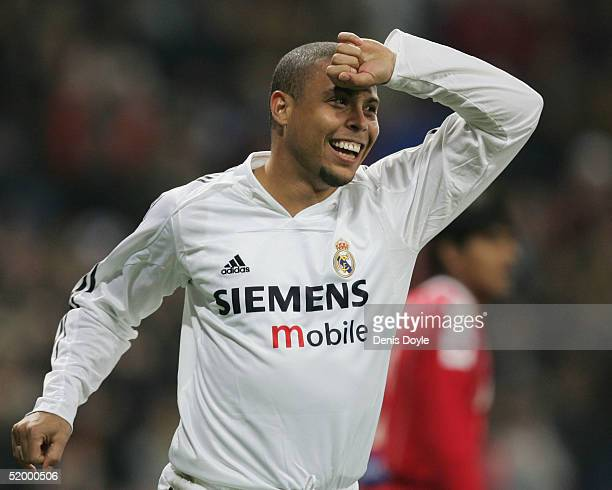 Real Madrid's Ronaldo celebrates after scoring a goal during a Primera Liga soccer match between Real Madrid and Zaragoza at the Bernabeu on January...