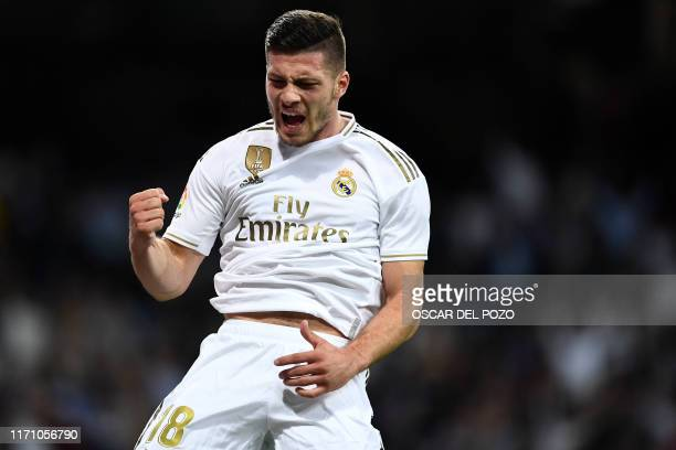 Real Madrid's Serbian forward Luka Jovic celebrates scoring his team's second goal during the Spanish league football match between Real Madrid CF...