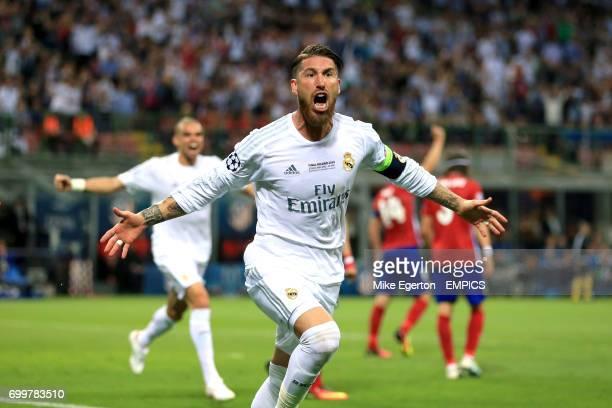 Real Madrid's Sergio Ramos celebrates scoring their first goal of the game