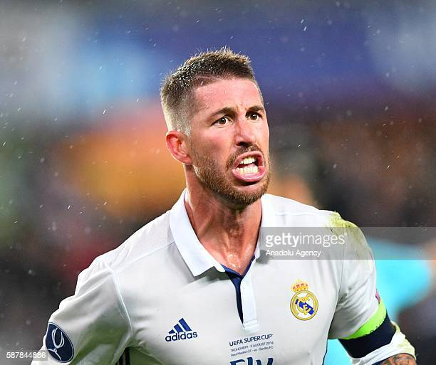 Real Madrids Sergio Ramos Is Seen During The UEFA Super Cup Match Between Madrid And