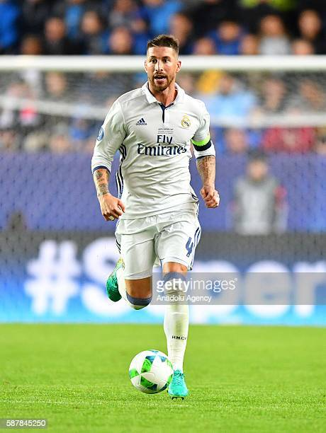 Real Madrid's Sergio Ramos is seen during the UEFA Super Cup match between Real Madrid and Sevilla FC at the Lerkendal Stadion in Trondheim Norway on...