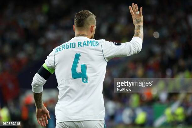 Real Madrid's Sergio Ramos reacts during the final match of the Champions League between Real Madrid and Liverpool at the Olympic Stadium in Kiev...