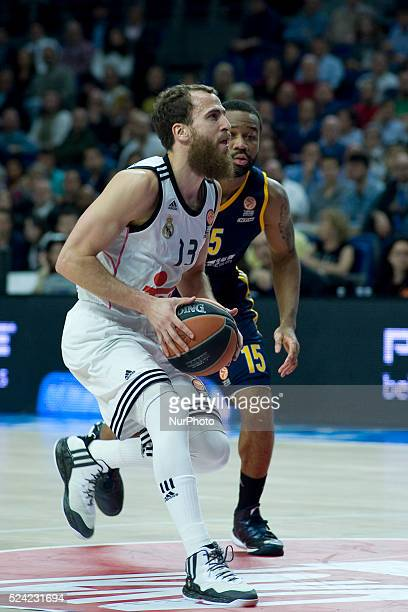 Real Madrid's Sergio Rodriguez player in action during their Real Madrid vs Alba Berlin Euroleague Top 16 basketball match at Palacio de los Deportes...