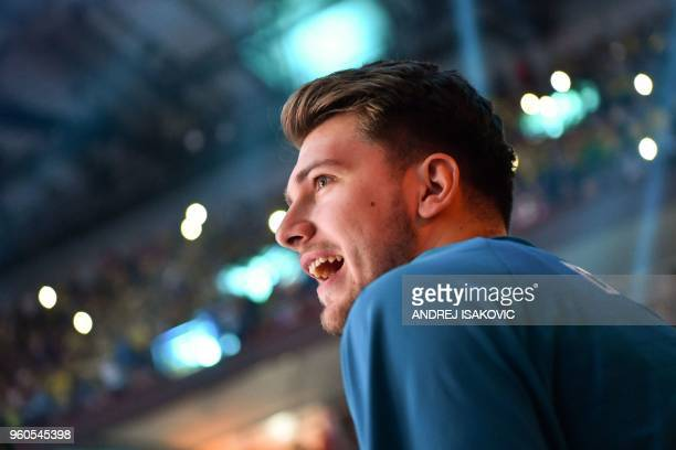 Real Madrid's Slovenian Luka Doncic looks on at the start of the Euroleague Final Four finals basketball match between Real Madrid and Fenerbahce...