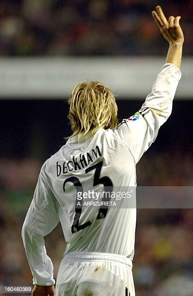 Real Madrid´s soccer legend David Beckham flashes a V sign during their Spanish King Cup football match against Athletic de Bilbao in San Mamés...