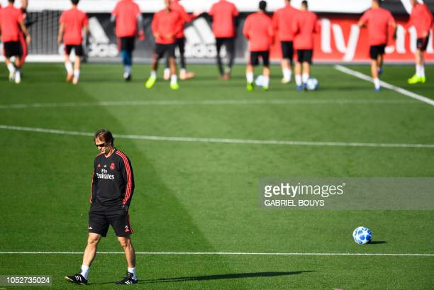 Real Madrid's Spanish coach Julen Lopetegui attends a training session at the Valdebebas training ground in Madrid on October 22, 2018 on the eve of...