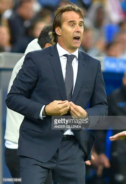 Real Madrid's Spanish coach Julen Lopetegui gestures during the Spanish league football match between Deportivo Alaves and Real Madrid CF at the...