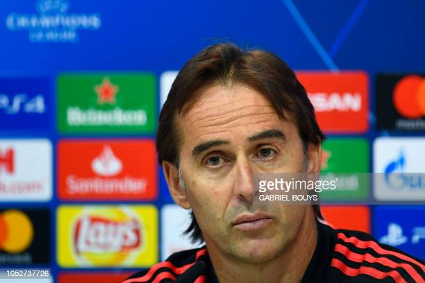 Real Madrid's Spanish coach Julen Lopetegui gives a press conference at the Valdebebas training ground in Madrid on October 22 2018 on the eve of the...