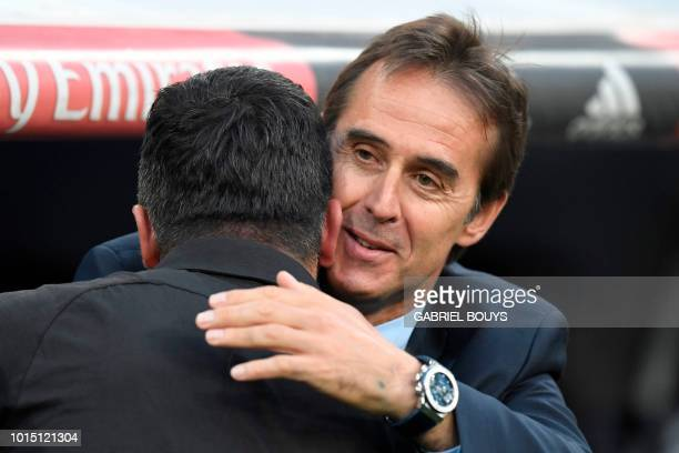 Real Madrid's Spanish coach Julen Lopetegui greets AC Milan's Italian coach Gennaro Gattuso before the Santiago Bernabeu Trophy football match...